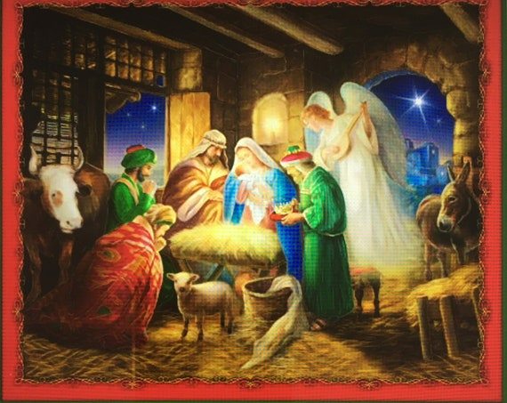 Nativity fabric panel Born is the King 36x44 By Quilting Treasures