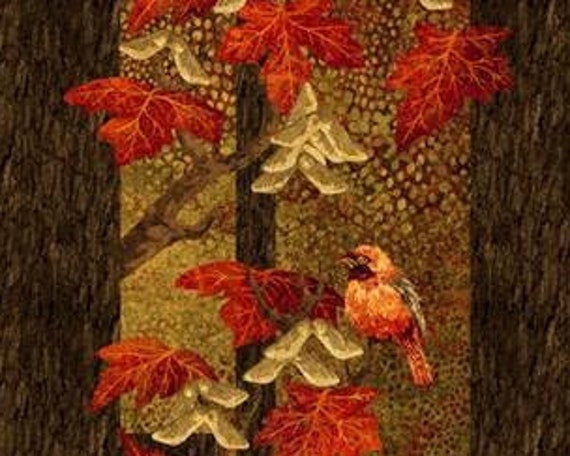 Nothcott Stone Henge Maplewood Fall Quilt Panel with Red Bird