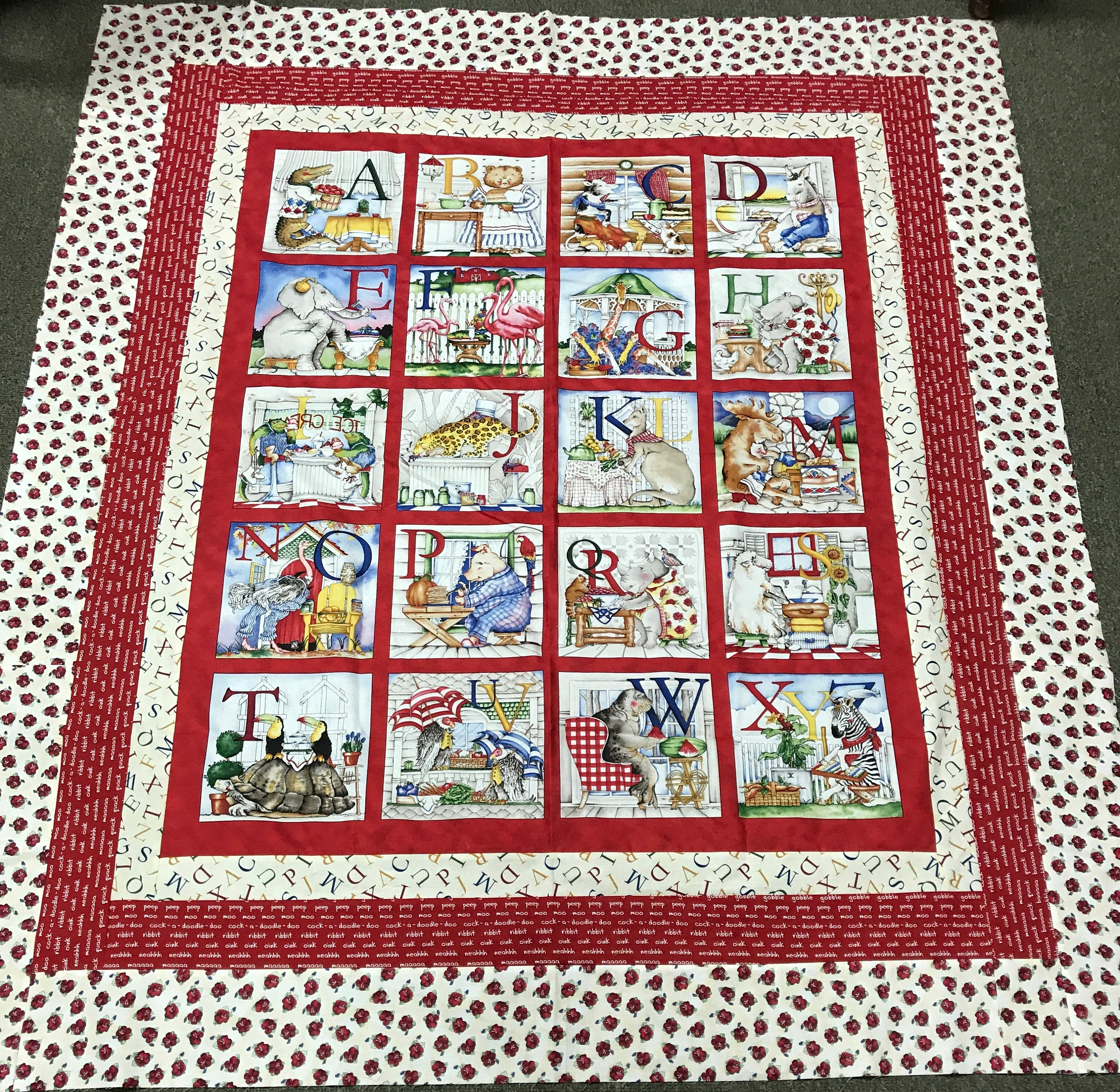 Hungry Animal Alphabet Pre Cut Quilt Kit Includes Hungry Animal