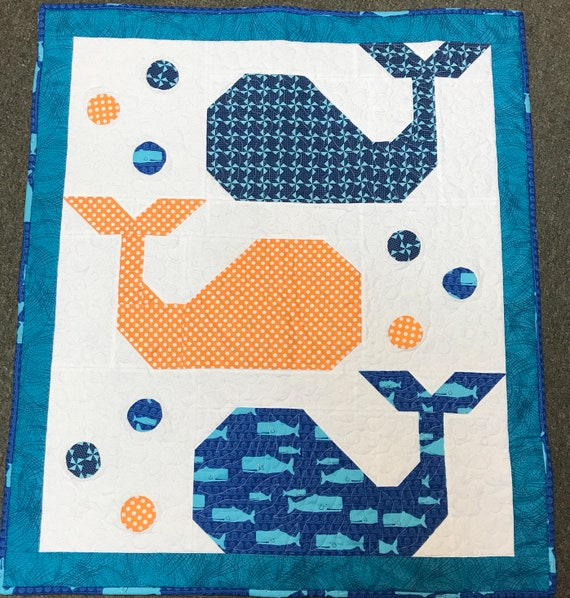 Andrew the Whale Baby Quilt 31x36 Blue Turquoise Hand Quilted Amish Made