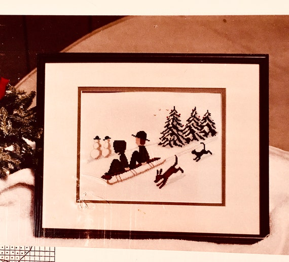 counted crosstitch embroidery pattern Diane Graebner design christmas sledding DGX-067 Amish children cats dogs sleds snow winter rare