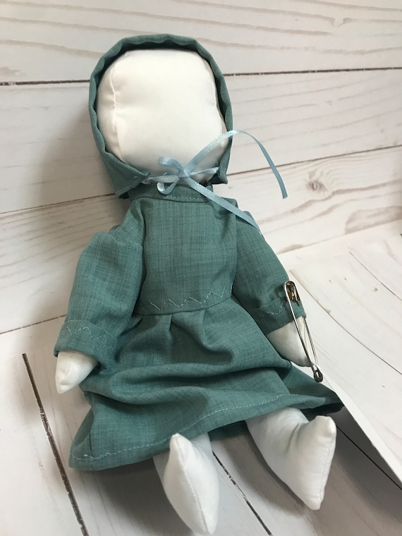 "Handmade Amish Doll 9"" Available in Several Colors Turquoise, Light Blue, Green, Brown, Blue,"