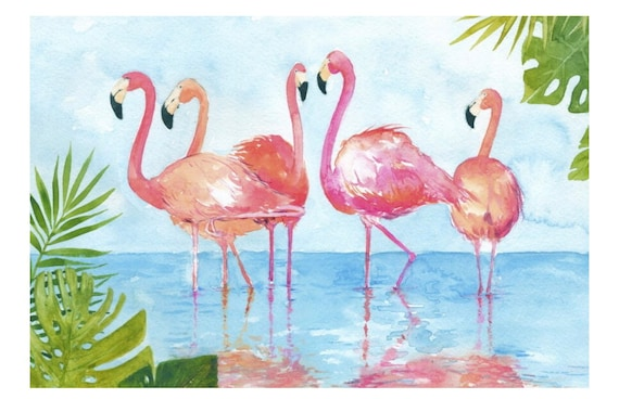 Flamingo and Leaves Panel by David Textiles