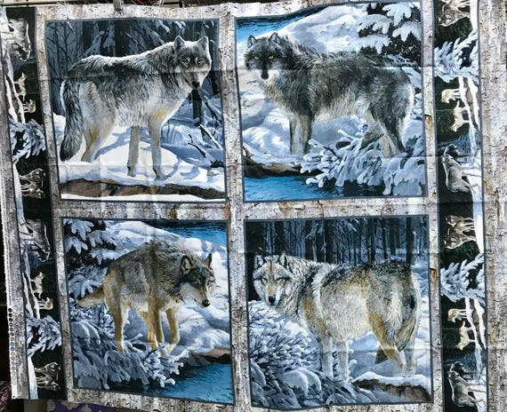4 Block Springs Creation Wolf Pillow Fabric Panel