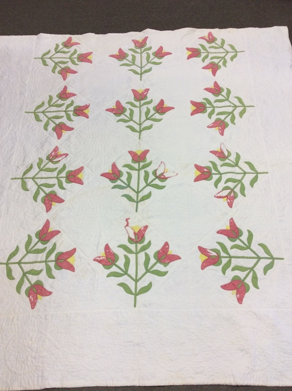 Antique Civil War Era Tulip Quilt Fugitive Green Double Pink Great Condition Some Repair needed