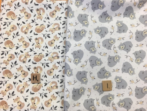 Little Critters Coordinates woodland animals Bear Foxes Bees Fawn cotton Fabric