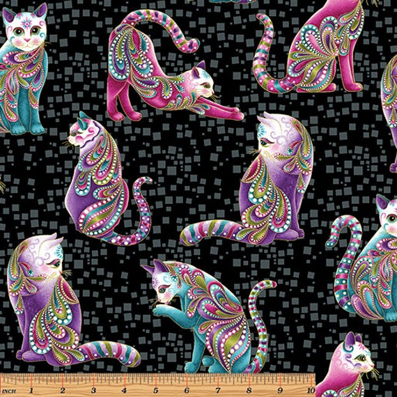 Cat-I-Tude Cats Allover Metallic Fabric 4201M-12 from Benartex by the yard