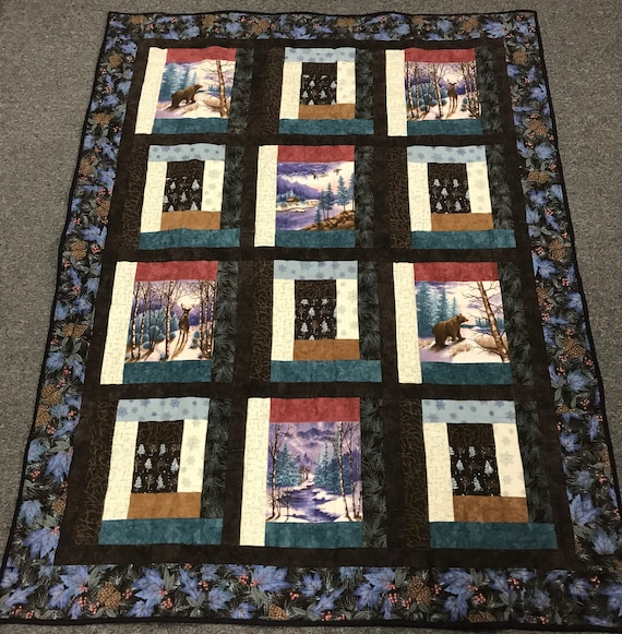 Northcott Woods Cotton Flannel 50x64 Alaska Woods Log Cabin Cozy Quilt Hand Quilted Handmade Outdoor