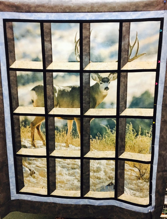FREE shipping!  Mule Deer in Attic Window Quilt Kit FREE shipping Riley Blake panel