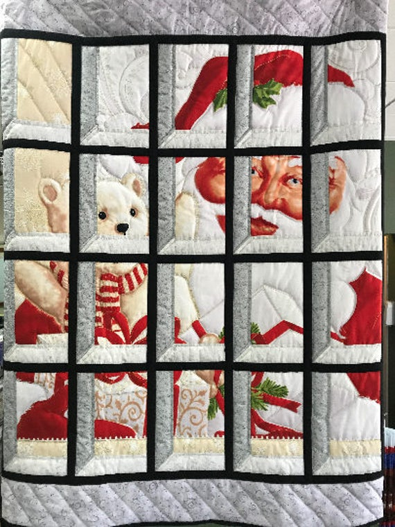 Santa Claus in Attic Window Quilt Handmade Hand Quilted