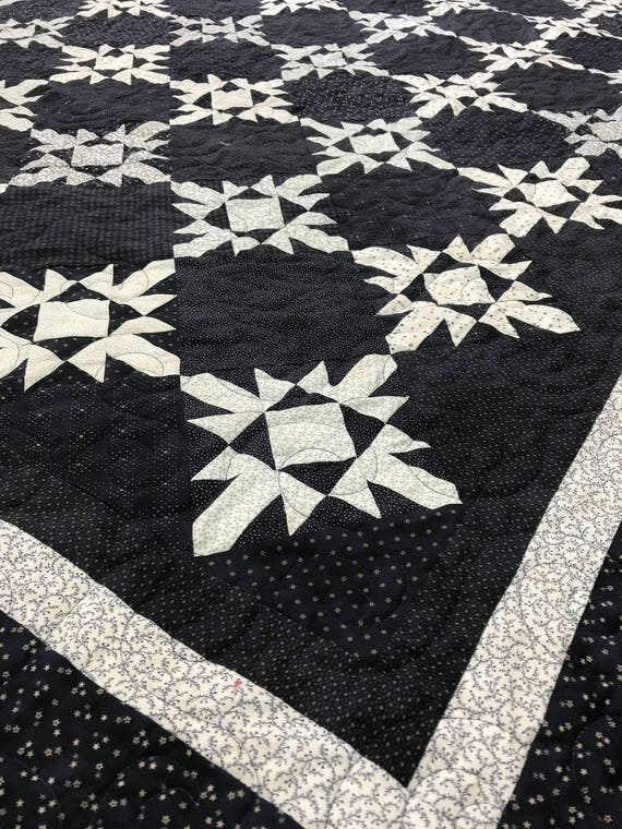 Primitive Gatherings Snowflake Quilt Navy Blue Stars 64x80