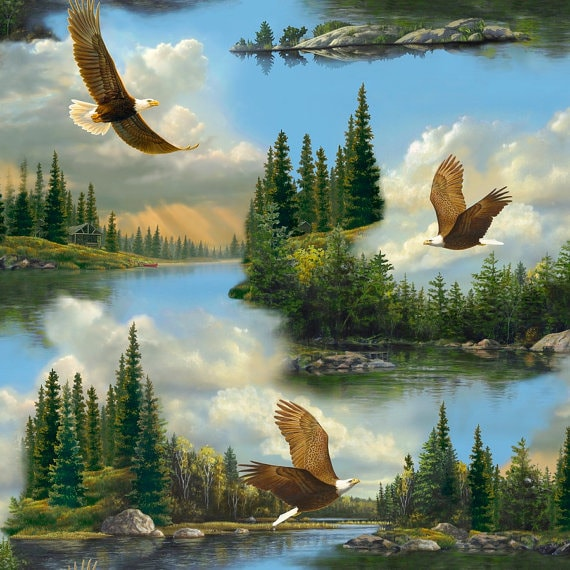 Majestic Eagles by Hautman Quilting Treasures 1 Yard Fabric Outdoor Eagle Fabric