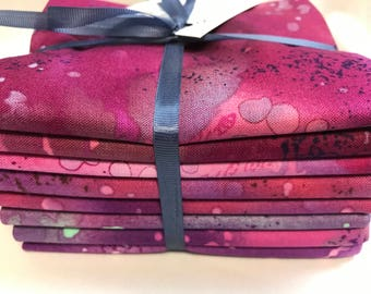 Fossil Fern Fat Quarters Set of 8 Purple Red Pink