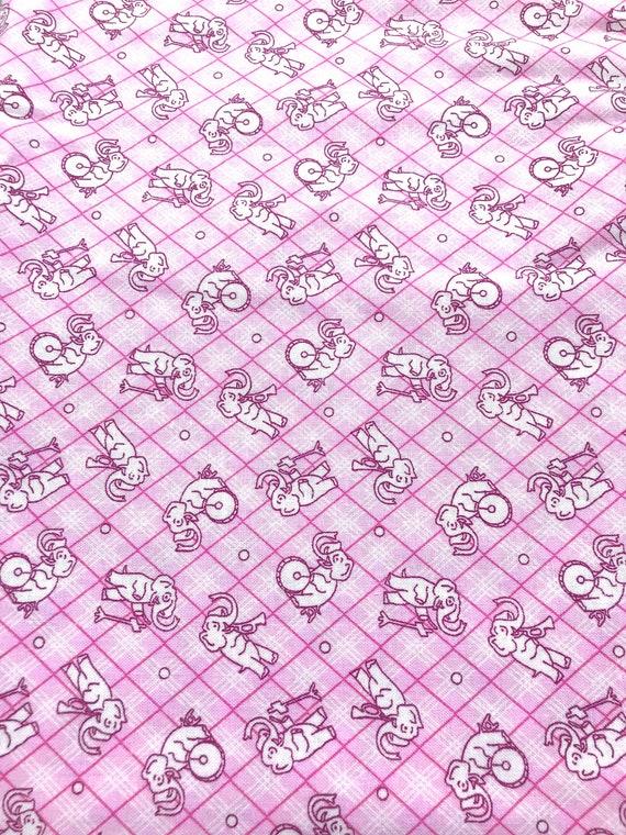 Vintage 30's Depression Feedsack prints Reproduction Pink Elephants Kids  Animals Pastel Nostalgic Toys