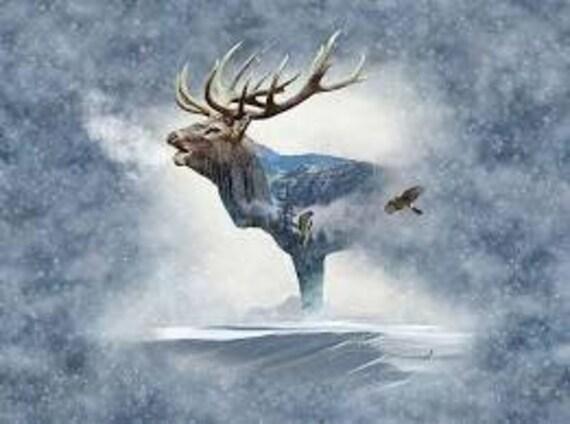 "Hoffman's Call of the Wild ""Fog Elk"" Digitally Printed Fabric Quilt Panel"