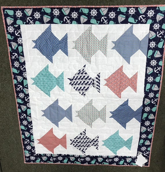 Nautical Quilt Kit Just Keep Swimming Summercrafter by Elaine Perez Create a Crib Quilt Baby Kit Pre Cut Quilt Kit
