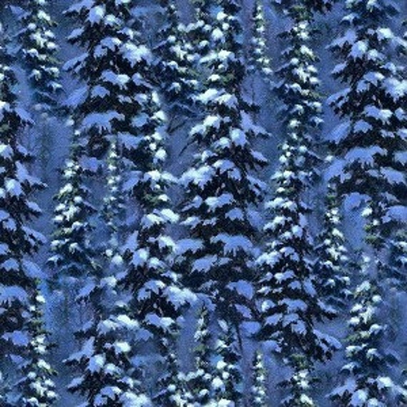 Northcott Silent Night Snowy Trees Coordinating Fabric 21733 44