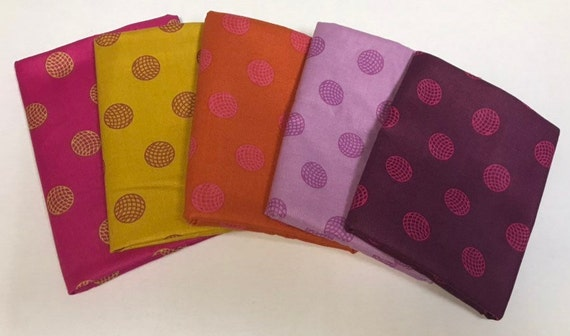 Alison Glass Fat Quarters set of 5 sphere pattern 8138