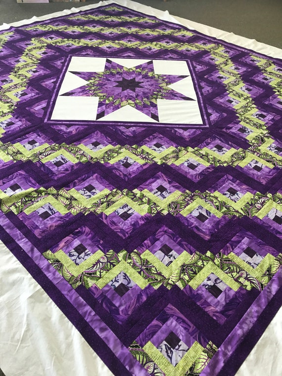 Lone Star Log Cabin Quilt or Quilt Top King Size