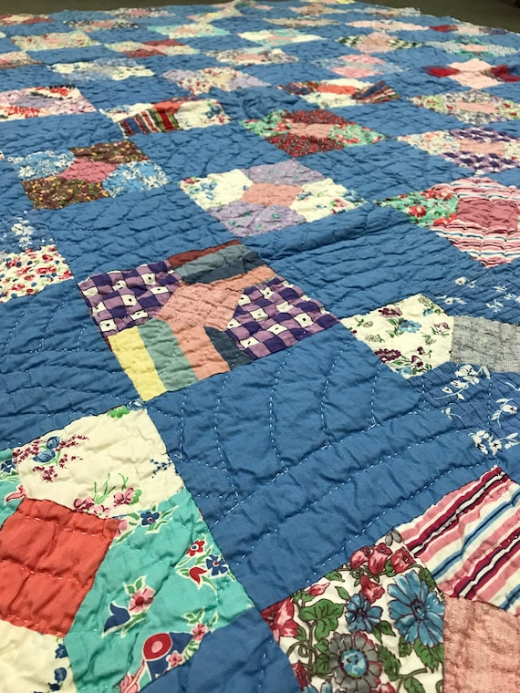 Handmade Blue Vintage Bow Tie Quilt