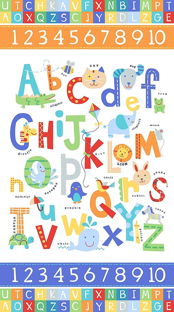 Alphabet Soup Fabric Panel Cotton Flannel F22388 by Northcott Animals