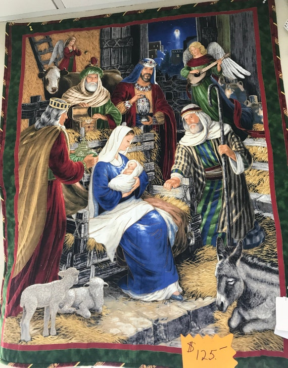 Nativity Wall Hanging Christmas Baby Jesus Mary Joseph Wisemen 40x35