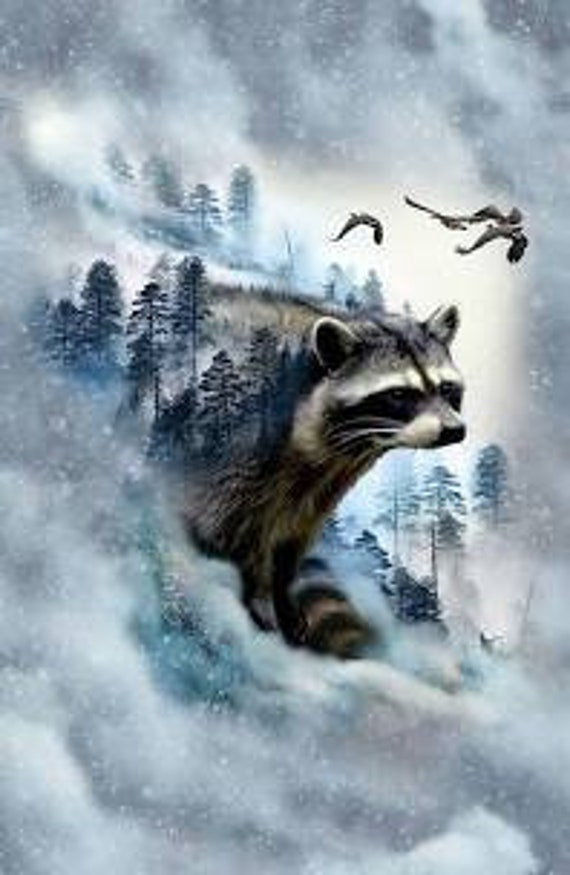 "Call Of The Wild ""Ice Raccoon"" Fabric Quilt Panel by Hoffman"