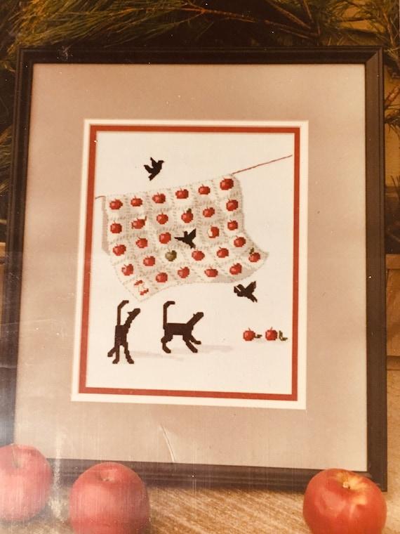 crosstitch counted Apple Quilt Cats Diane Graebner Pattern clothesline quilt Amish
