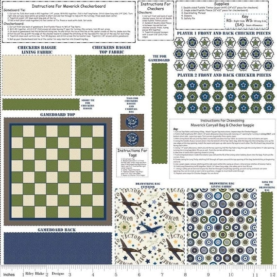 Riley Blake Checkerboard or chess Fabric Panel