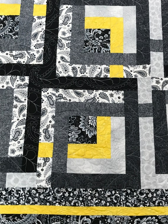 Quilt Black Yellow Paisley HOLIDAY PRICE reduced from 723 to 599