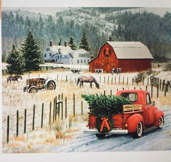 Red Truck ChristmasTree country Christmas Barn Memories Vintage Red Truck Riley Blake Fabric Zpanel