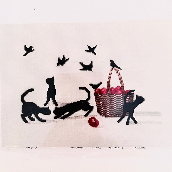 Kitty Play counted crosstitch Diane Graebner Design out of print rare DGX-052