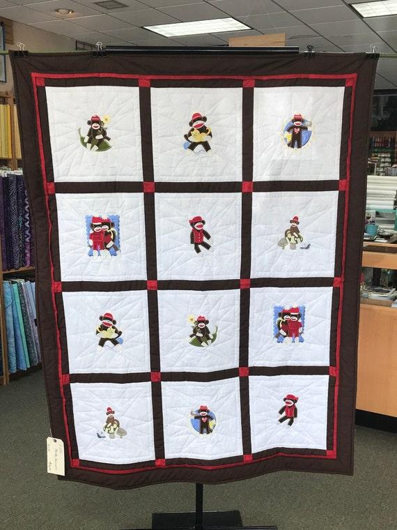 Sock Monkey Embroidered Handmade Quilt