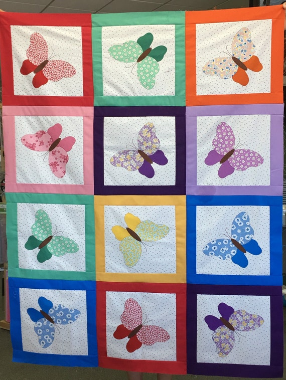 Butterfly Pre Cut Quilt Kit Bright Vibrant