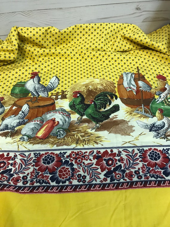 Vintage Chicken Folk Art Fabric, possibly 1950's by Concord Fabrics, Yellow and Red, 2 Yard Panel