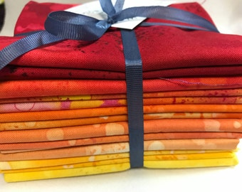 Fossil Fern Fat Quarters set of 8 Red Orange and Yellow