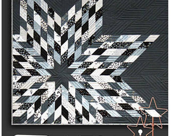 Mega Star Quilt Kit White Christmas Metallic Lonestar Grey Modern Quilt