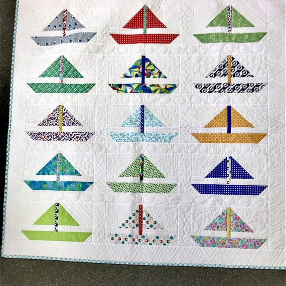 Sailboat quilt kit reef Moda childs quilt water