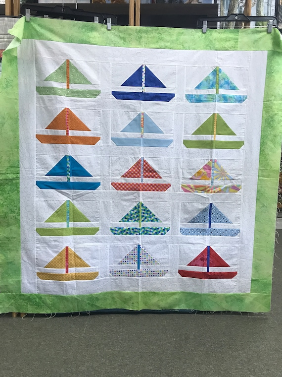 Sailboat Quilt Kit Bartholo-meow's Reef  44x44 Kit includes fabric for Top & Binding