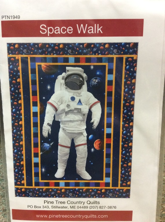 Space Walk Quilt Kit Spacewalk Astronaut Outerspace Stars Planets Solar System Pre Cut Quilt Kit