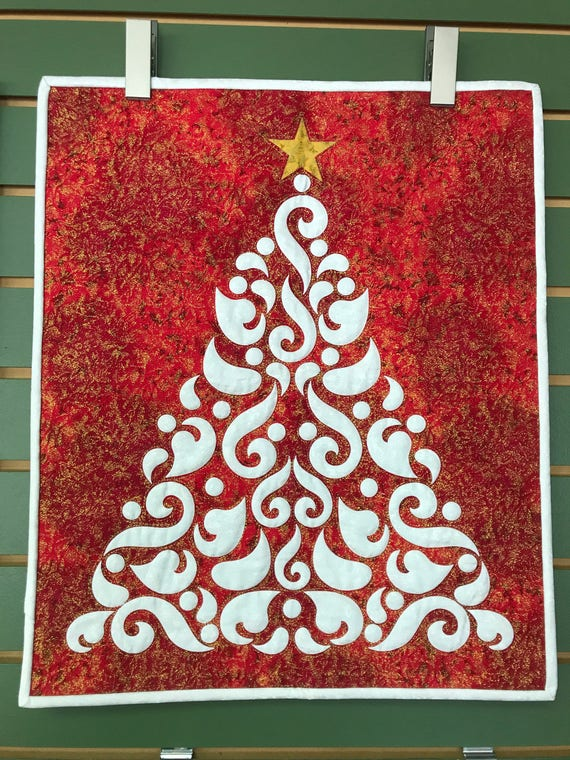 Christmas Tree Fairy Frost Red Silhouette PreCut Prefused Applique Silhouette PreCut Kit Quilt Kit Wall Hanging