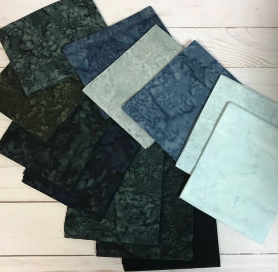 Anthology Batik Fabric Fat Quarters in Dark and Light Blues and Greens