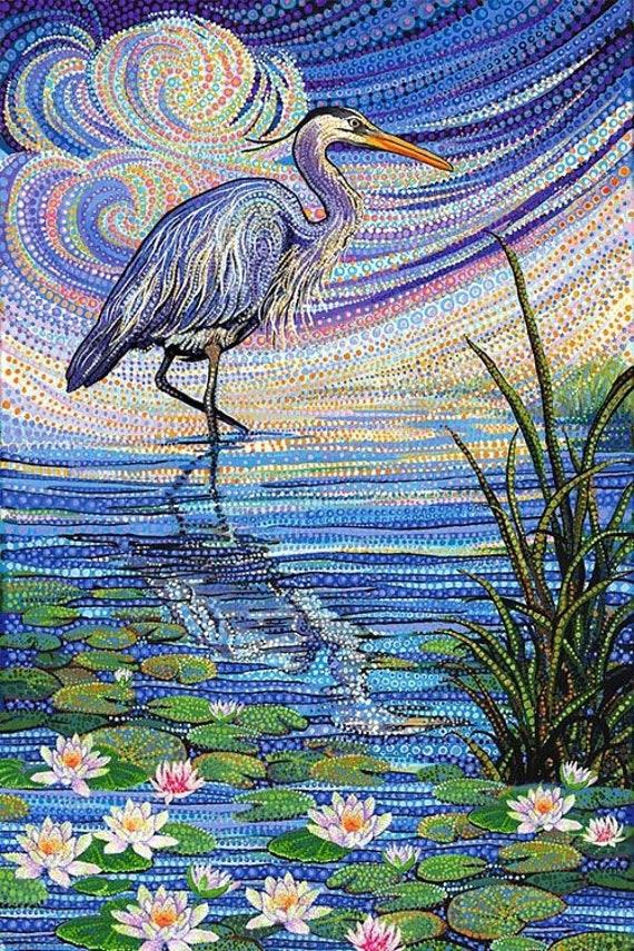 Blue Heron Water Garden Fabric Quilt Panel