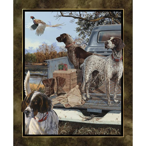 Dog Days Panel by Wild Wings Hunting Dogs Fabric Outdoor Bird Dogs Pheasant Hunter