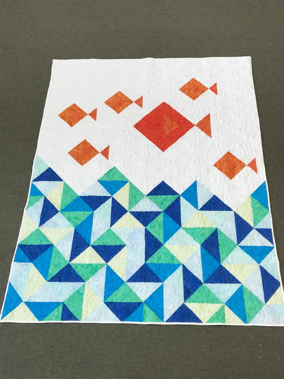 FREE shipping!  Little Fishies Quilt Kit 60x77