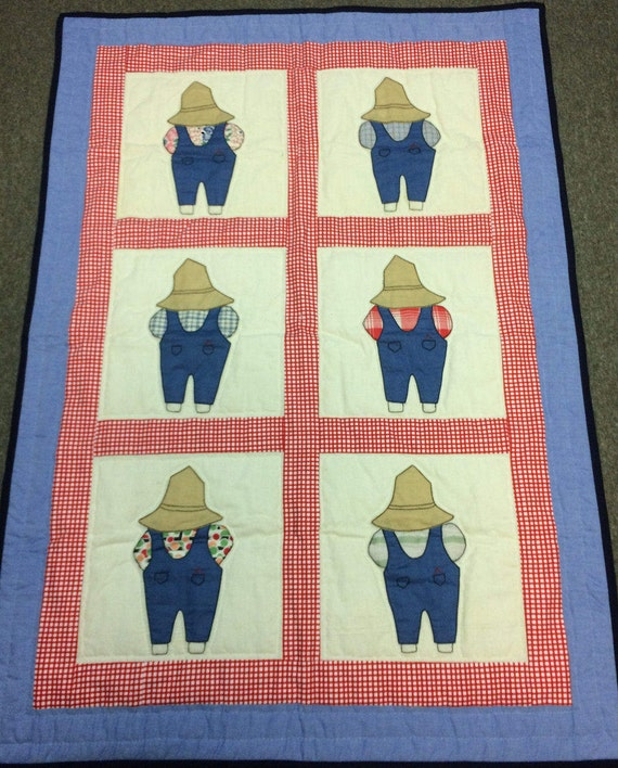 Hand Quilted Baby Blanket Hand Sewn Amish Made Farmer Overalls Red Gingham Denim Handmade