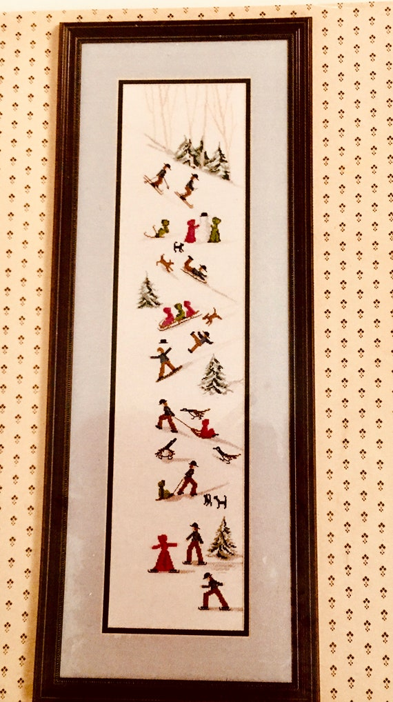counted crosstitch embroidery pattern Diane Graebner design Yoders Hill Amish sledding winter DG 9 rare out of print dogs cat