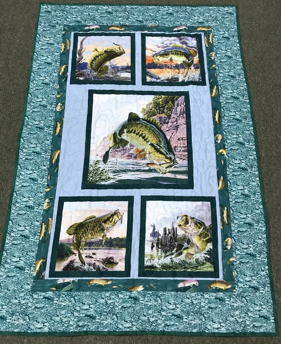 Bass Quilt Wall Hanging Lap Quilt Fishing Outdoor