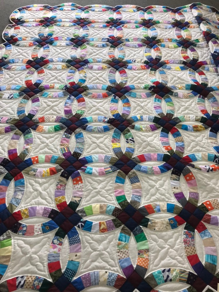 Double Wedding Ring Quilt Handmade Amish Quilt King Queen