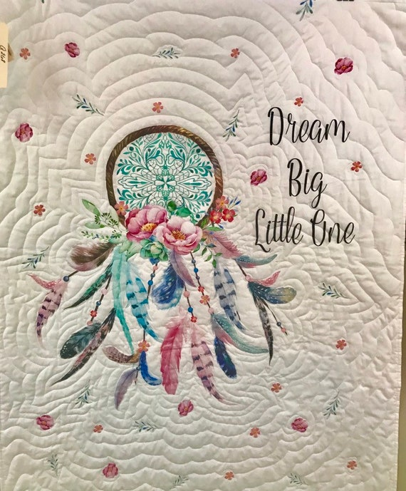 """Dreamcatcher """"Dream Big Little One"""" Baby Girl Toddler Quilt White Pink Feathers"""